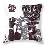 Johnny Manziel 9 Throw Pillow by Jeremiah Colley