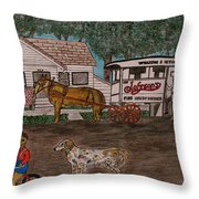 Johnsons Milk Wagon Pulled By A Horse  Throw Pillow