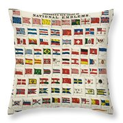 Johnsons New Chart Of National Emblems Throw Pillow by Georgia Fowler