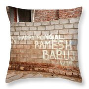 Jolly Happy Pongal Throw Pillow