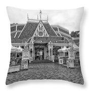 Jolly Holiday Cafe Main Street Disneyland Bw Throw Pillow