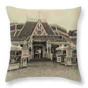 Jolly Holiday Cafe Main Street Disneyland Heirloom Throw Pillow