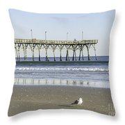 Jolly Roger Pier On Topsail Beach Nc Throw Pillow