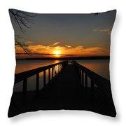 Jordan Lake Sunset Throw Pillow