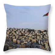 Jordanian Flag Flying Over The City Of Amman Jordan Throw Pillow