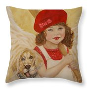Joscelyn And Jolly Little Angel Of Playfulness Throw Pillow by The Art With A Heart By Charlotte Phillips