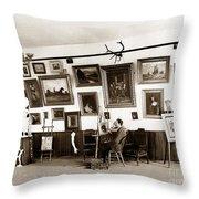 Joseph Kurtz Oliver Artist In His Studio Monterey Circa 1905 Throw Pillow