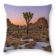 Joshua Tree Dusk Panorama Throw Pillow