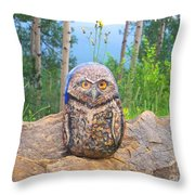 Journey Of Burrowing Owl Throw Pillow
