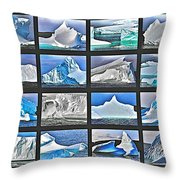 Journey's End For Vanishing Icebergs Assemblage In Saint Anthony-newfoundland  Throw Pillow