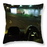 Joy Ride At Mid Night In Paris View From Rear   Of Limo Throw Pillow