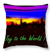Joy To The World - Empire State Christmas And Holiday Card Throw Pillow