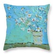 Joyful Daisies, Flowers, Modern Impressionistic Art Palette Knife Oil Painting Throw Pillow