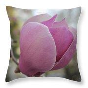 Joyful Pink Magnolia Throw Pillow