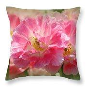 Joyful Spring Tulips Throw Pillow