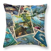 Jq's Fishing Collage Throw Pillow