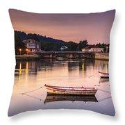 Jubia River Panorama Neda Naron Galicia Spain Throw Pillow