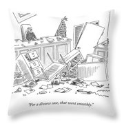 Judge Sits At The Head Of A Destroyed Courtroom Throw Pillow