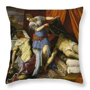 Judith And Holofernes Throw Pillow