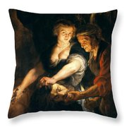 Judith With The Head Of Holofernes Throw Pillow