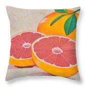 Juicy Pink Grapefruit Throw Pillow