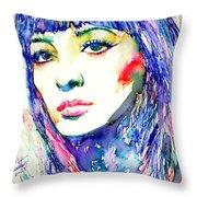 Juliette Greco - Colored Pens Portrait Throw Pillow