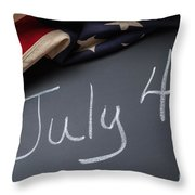 July 4 Sign On Chalkboard Throw Pillow