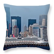 July 7 2014 - Carnival Splendor At New York City - Image 1674-01 Throw Pillow