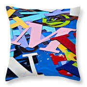 Jumble Of Letters Throw Pillow