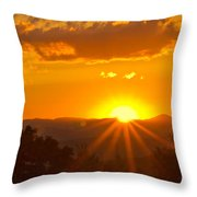Jump Off Rock Sunset Flare Throw Pillow
