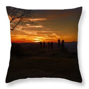 Jump Off Rock Sunset Silhouettes Throw Pillow