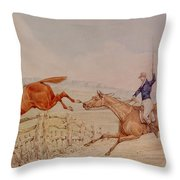 Jumping A Fence Throw Pillow
