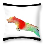 Jumping Dog Throw Pillow by Jo Collins