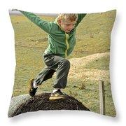 Jumping Haystacks Throw Pillow