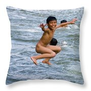 Jumping In The River Throw Pillow