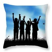 Jumping Kids Throw Pillow