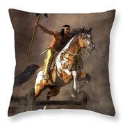 Jumping Mustang Throw Pillow