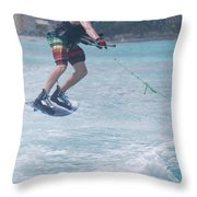 Jumping Wakeboarder Throw Pillow