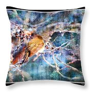 Junco On Icy Branch - Digital Paint II Throw Pillow