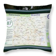 Junction Of Cycling In Drenthe Netherlands Throw Pillow