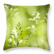 June Green Grass Flowering Throw Pillow