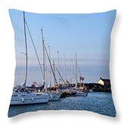 June Morning - Lyme Regis Harbour Throw Pillow