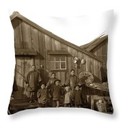 Jung San Choy And Chinese Family Pescadero Village Pebble Beach California Circa 1895 Throw Pillow