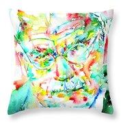 Jung - Watercolor Portrait.2 Throw Pillow