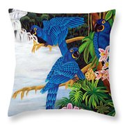 Jungle Chats Hand Embroidery Throw Pillow