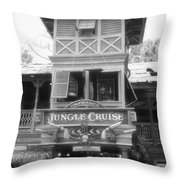 Jungle Cruise Adventureland Disneyland Bw Throw Pillow