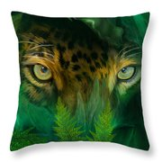 Jungle Eyes - Jaguar Throw Pillow