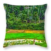 Jungle Homestead Paint Version Throw Pillow