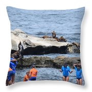 Junior Lifeguards And Sea Lions Throw Pillow