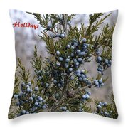 Juniper Berries - Happy Holidays Throw Pillow